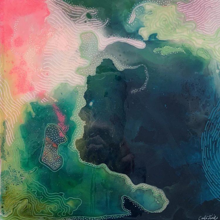 Carla Filipe Australian Artist Colour Song The coastline within 2018 mixed media on wood