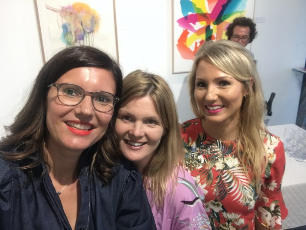 Carla Filipe, Jane Hansen and Salleigh Olsen, during the opening of The Art Gallery in Paddington, October 2018.