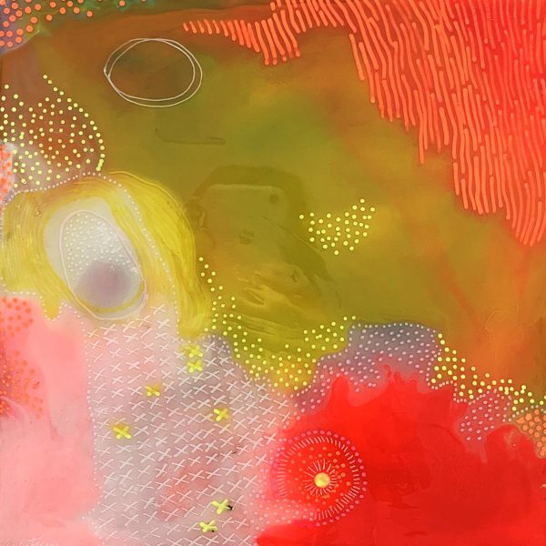 Carla Filipe Australian Artist Colour Song Passion and Softness 2018 mixed media on wood