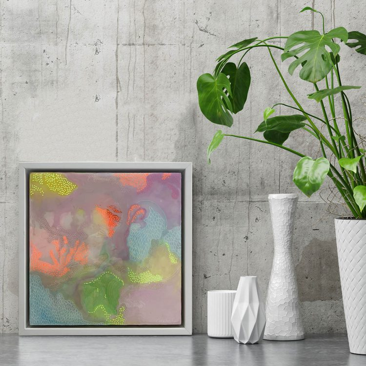 Carla Filipe Australian artist Colour Song There is only love 2018 mixed media on wood – insitu