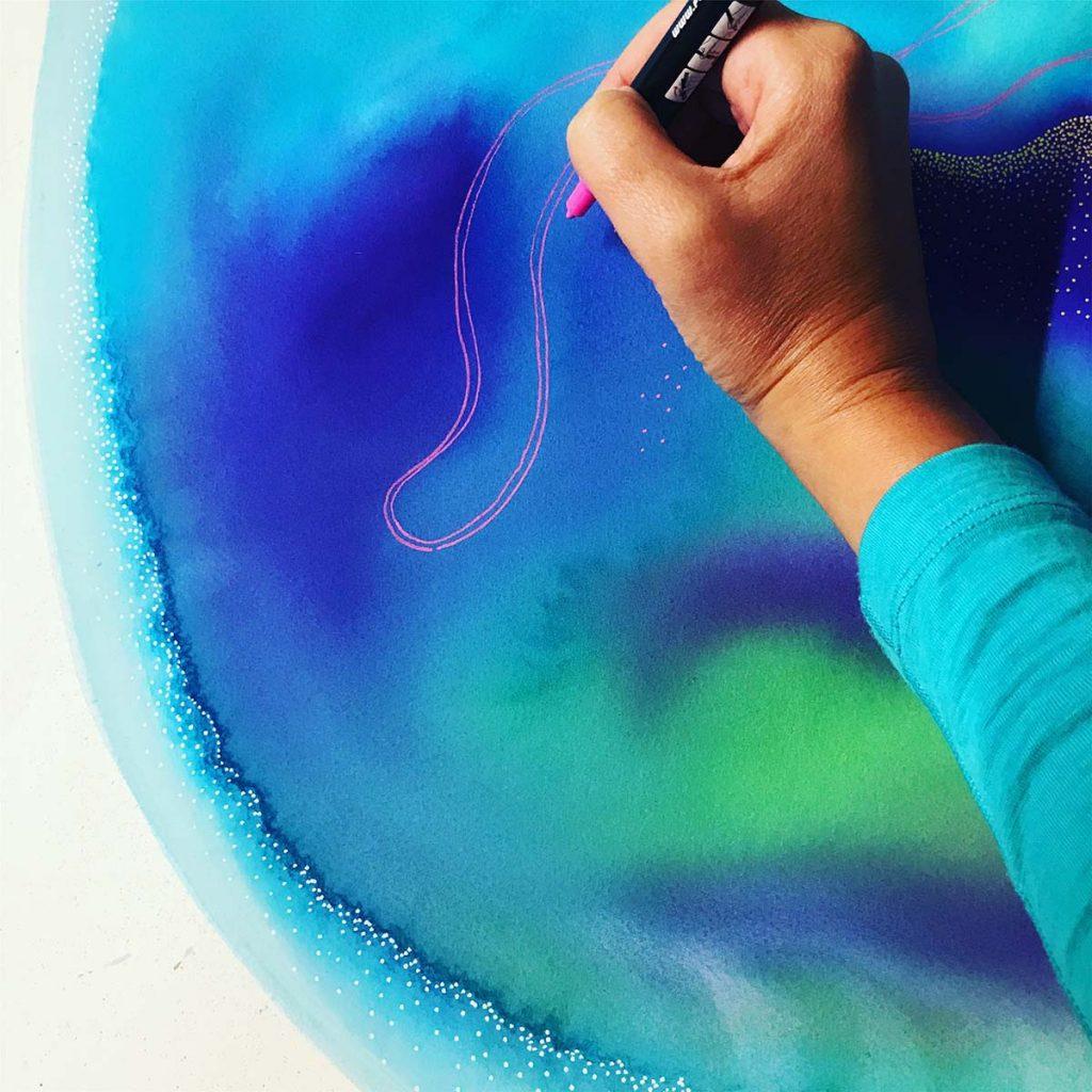 Carla Filipe Australian Artist painting Sacred Ovum series 2018
